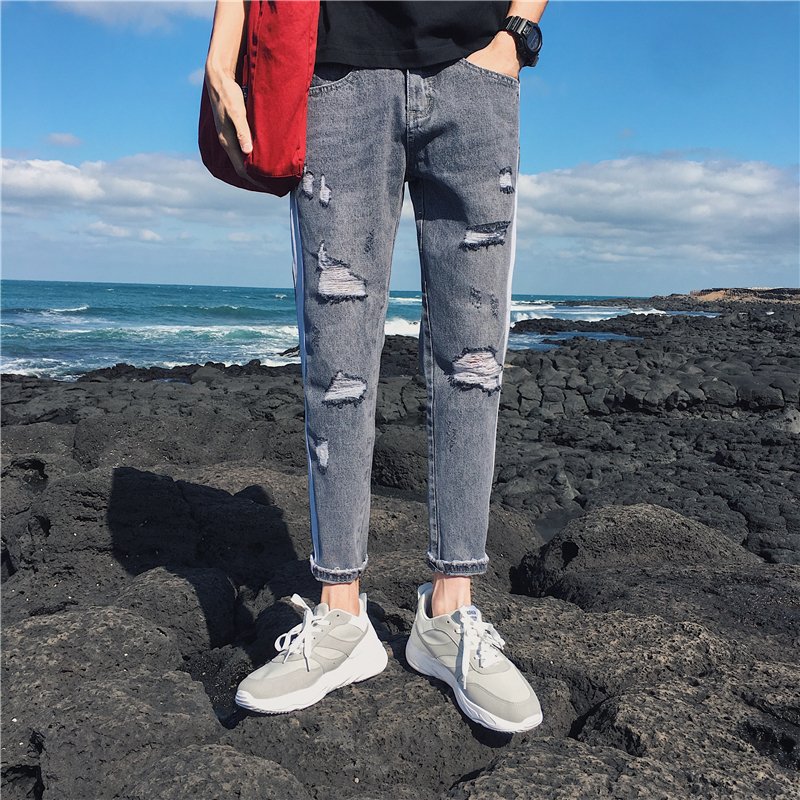 2018 Spring New Mens Korean Fashion Tide Holes Skinny Stretch Slim Fit Pants Casual Blue/Grey Jeans Trousers Homme Size 28-36