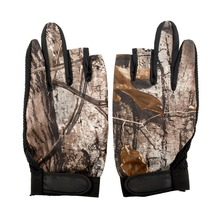 1 Pair 3 Cut Finger Anti Slip Non Slip Green Camo Camouflage Fishing Fish Gloves Tackle Tool Protect Outdoor Sports Durable