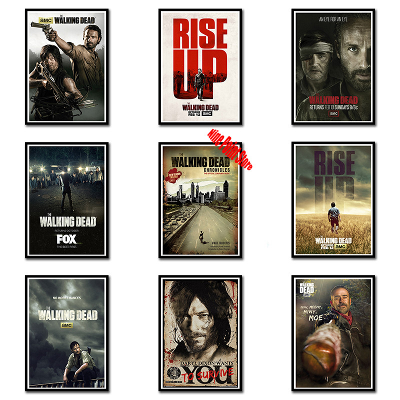 Us 185 29 Offclassic Movie Coated Paper Poster The Walking Dead Season 7 Creative Wallpaper Interior Decoration 4230cm In Wall Stickers From Home