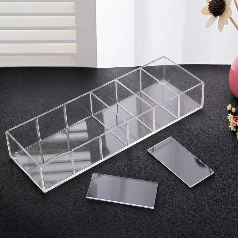 Clear Acrylic Makeup Organizer Blush Lipstick Holder Makeup Compact Powder Holder Case Cosmetic Storage Box Eyeshadow Organizer