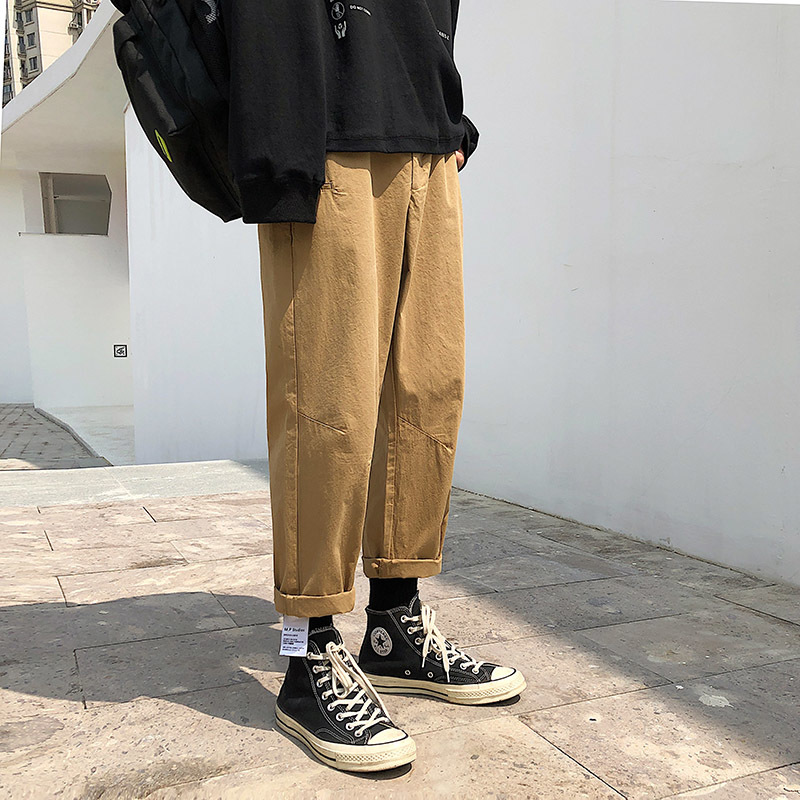 2019 New Summer And Autumn Men's Wild Solid Color Loose Fashion Casual Simple Pants Youth Popular Middle Waist Khaki/Beige M 2XL