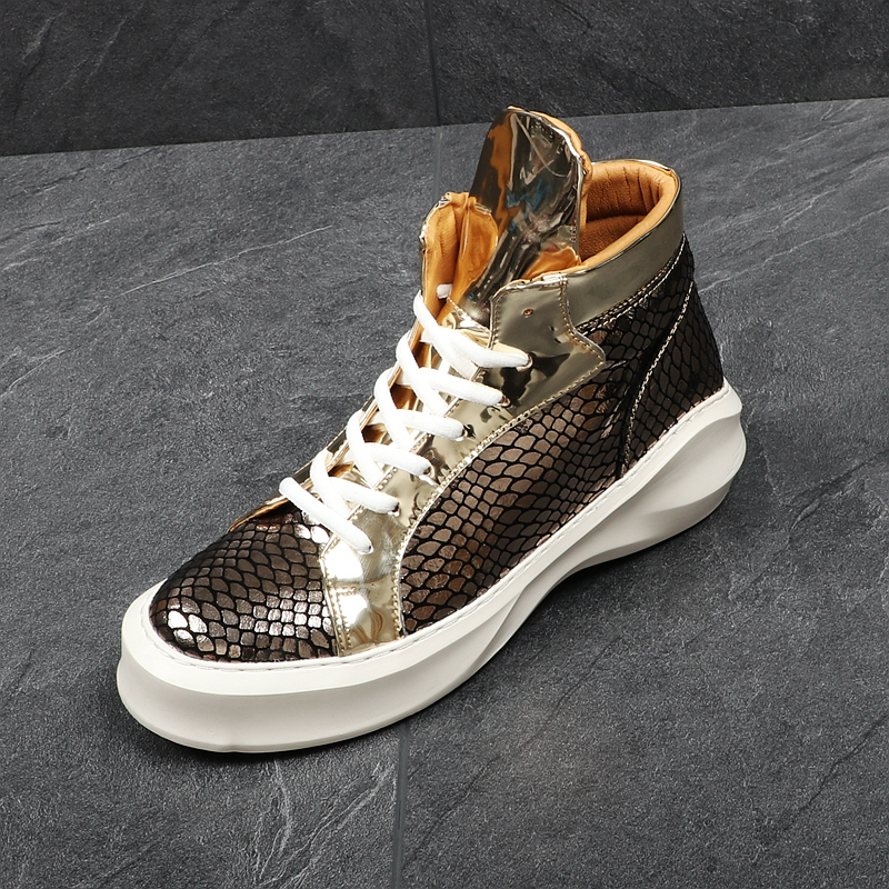 Men's Casual Shoes Cuddlyiipanda Brand Serpentine Print Mens Flats Casual Shoes Moccasins Men High Top Fashion Snake Style Male Driving Platform