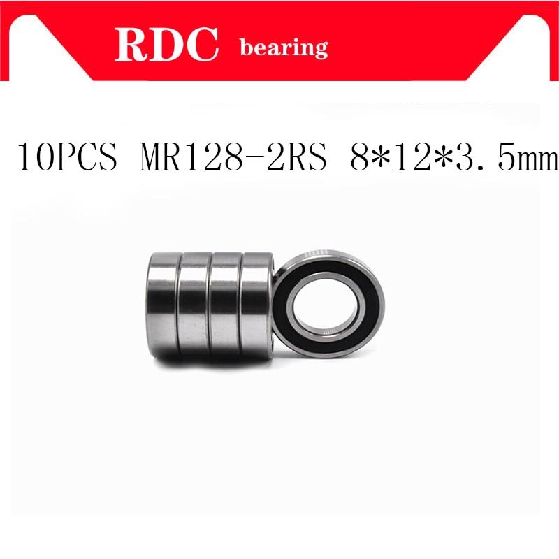 10PCS ABEC-5 MR128-2RS MR128 2RS MR128 RS MR128RS 8x12x3.5 mm rubber seal cover miniature High quality deep groove ball bearing стоимость