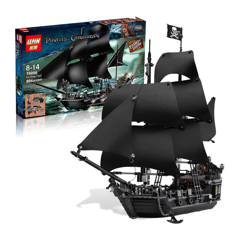 IN STOCK LEPIN 16006  804Pcs Pirates Of The Caribbean The Black Pearl Ship Model Building Kit Blocks BricksToy Compatible 4184 16006 804pcs pirates of the caribbean the black pearl ship model building kits blocks bricks toys gift 4184