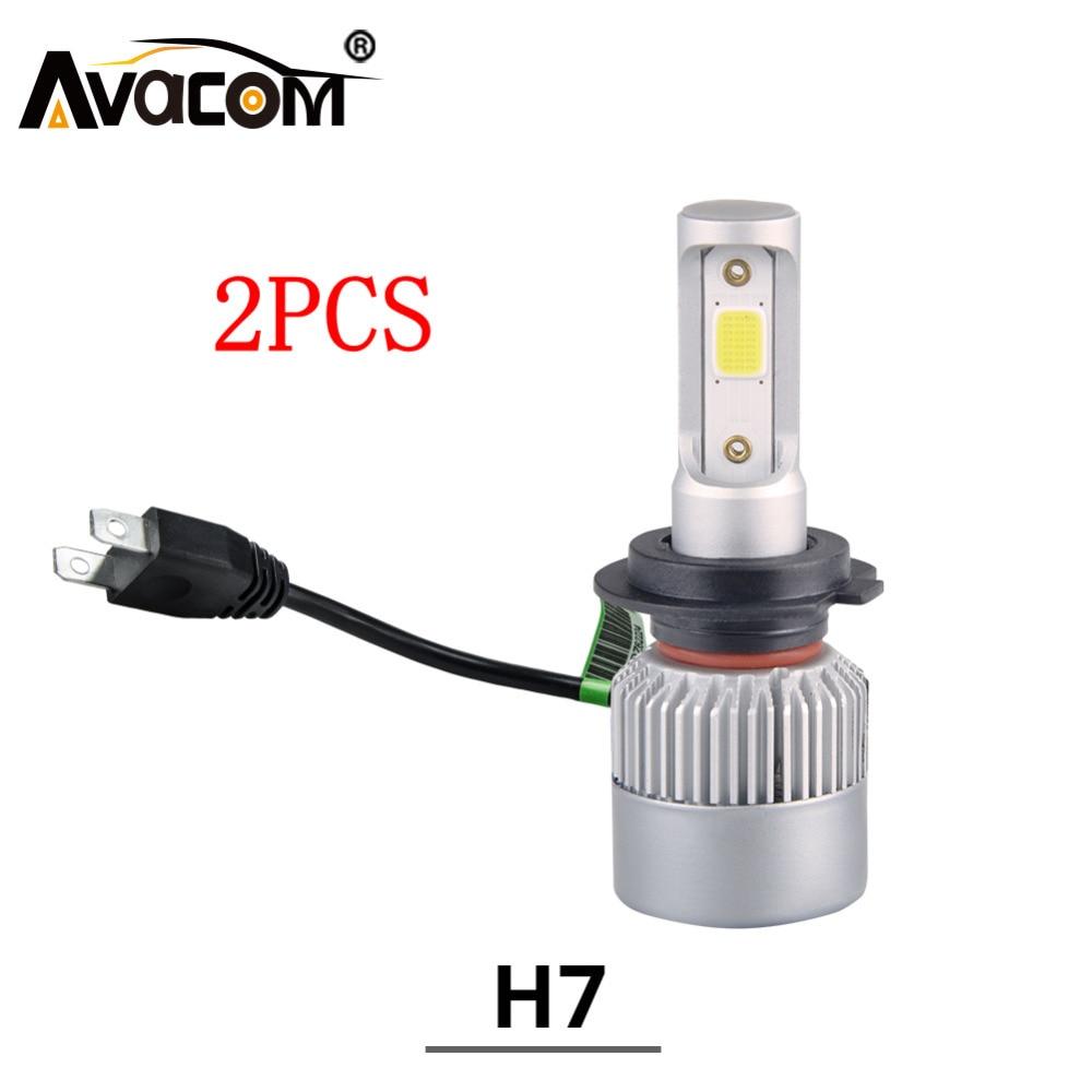 Avacom 2Pcs H7 LED Mini Car Headlight Bulb 12V 4300K 6500K 8000Lm COB Chip Super White 24V H7 LED Light Auto Ampoule LED Voiture h7 csp led headlight single beam car led headllamp bulb 6500k 8000lm auto light source for philips chip automoveis carro voiture