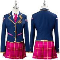 OW Hana Song Cosplay D.VA DVA Cosplay Costume Academy Girls Dress School Uniform Outfit Halloween Carnival Costumes