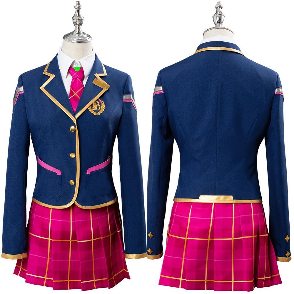 OW Hana chanson Cosplay D. VA DVA Cosplay Costume académie filles robe école uniforme tenue Halloween carnaval Costumes