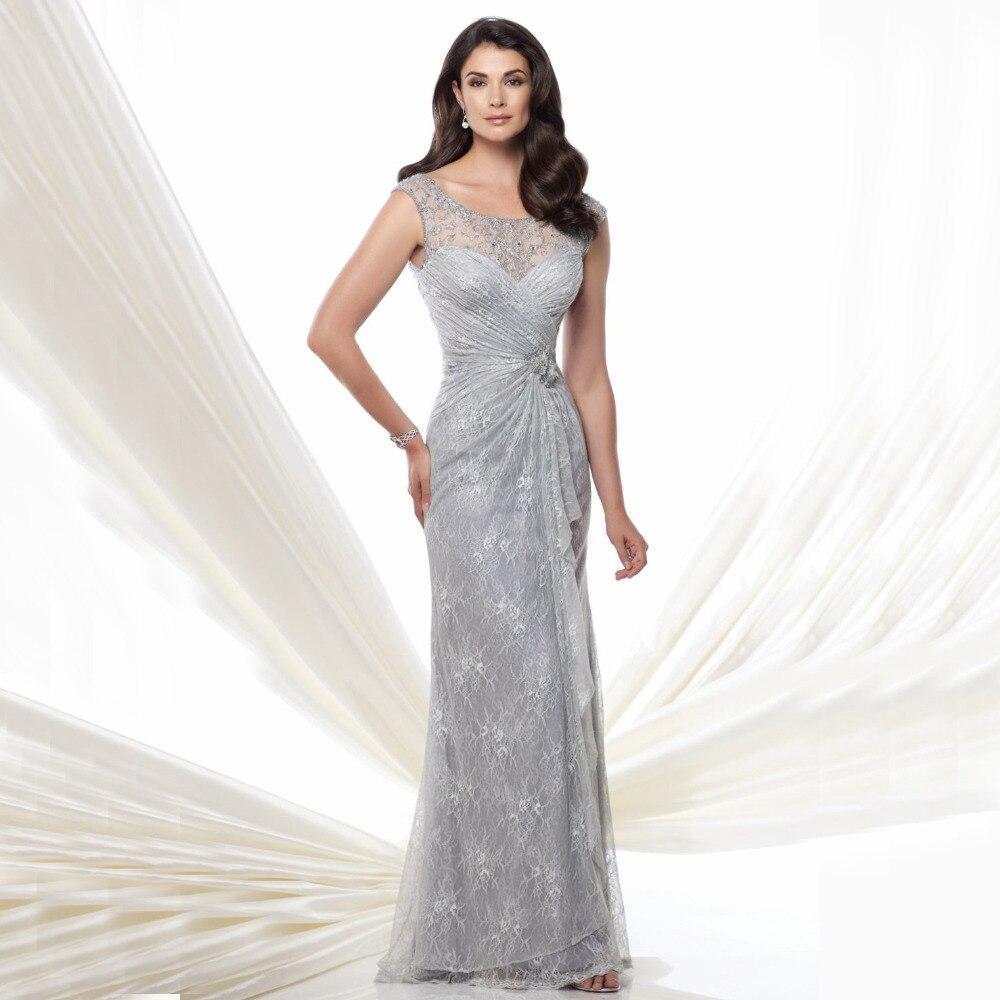 Wedding Silver Formal Dresses online buy wholesale silver formal dress from china elegant lace mermaid evening dresses long 2017 robe de soiree beading cap sleeve dresses