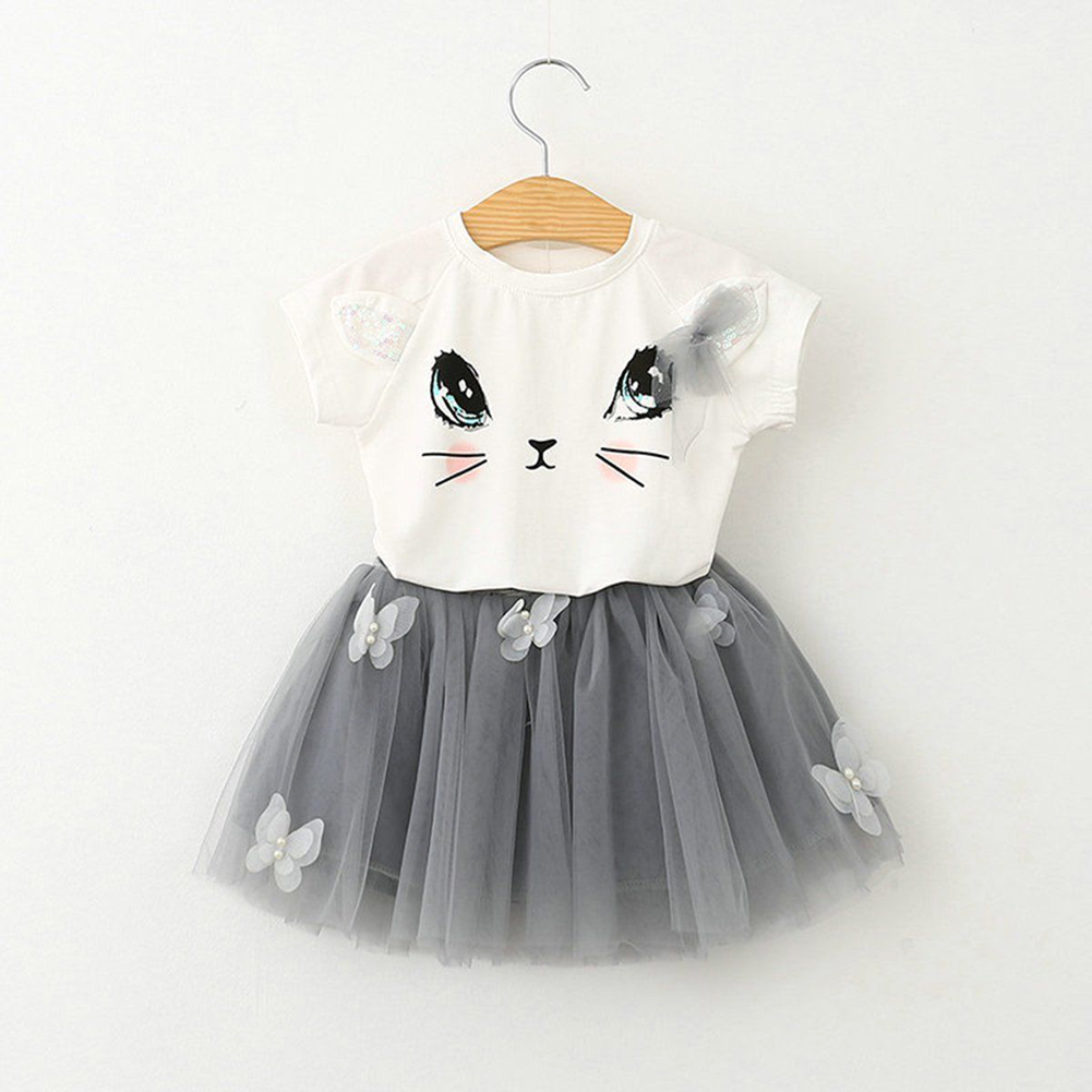 Newest Summer Toddler Kids Baby Girls Outfits Clothes T-shirt Tops+Tutu Skirt 2pcs Girls Skirt Clothes Set For 2-6Y 2018 little girls 2 pieces tutu skirt clothing sets summer cartoon cute cat toddler girl short tops lace skirts kids outfits