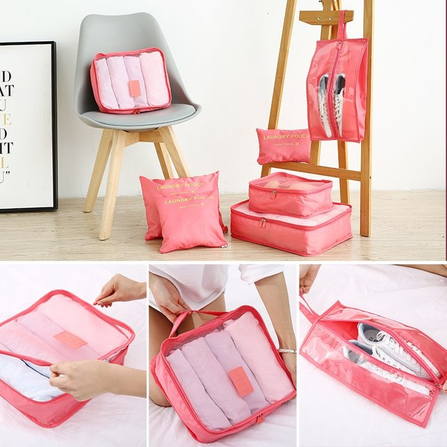 Multifunction 7 Pcs/set Women Travel Bag Clothes Underwear Bra Packing Cube Luggage Organizer Pouch Large Capacity  Handbags 2