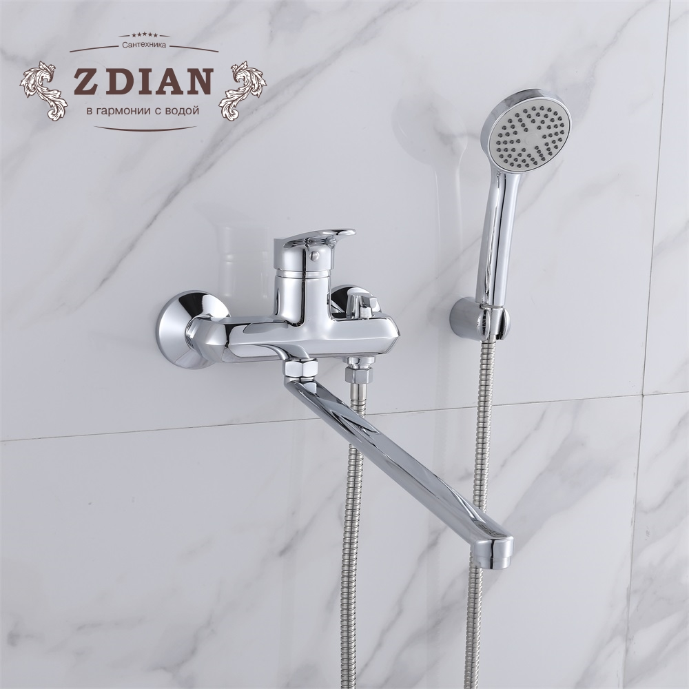 Shower Set Bath Faucet 2 Functions Bathroom Faucet Wall Mounted Cold and Hot Tub Mix Tap 35cm Long Nose With Handheld Showerhead