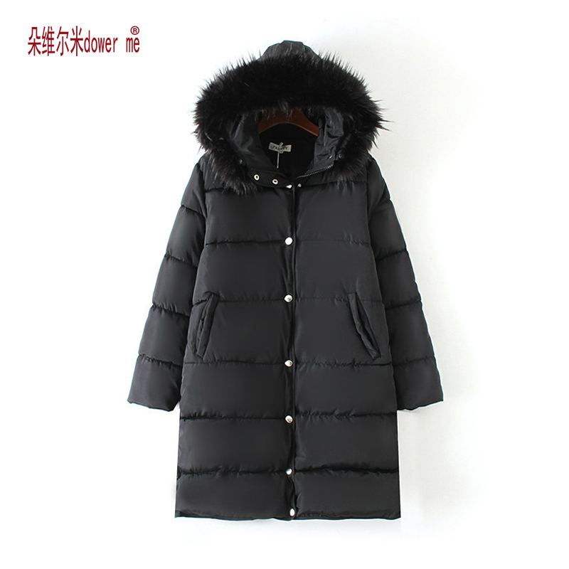 dower me 2017 New Fashion Winter Jacket Women Fake Raccoon Fur Collar Winter Coat Women Parkas Warm Down Jacket Female outerwear 2017 winter new clothes to overcome the coat of women in the long reed rabbit hair fur fur coat fox raccoon fur collar