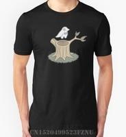 Summer At A Loss T Shirt Men Ghost Bird And Tree Trunk Short O Neck Novelty