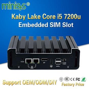 Minisys Intel NUC Mini PC kabylake I5 7200u processor Dual Core Thin Client Fanless Pocket TV BOX desktop Computer For Window 10