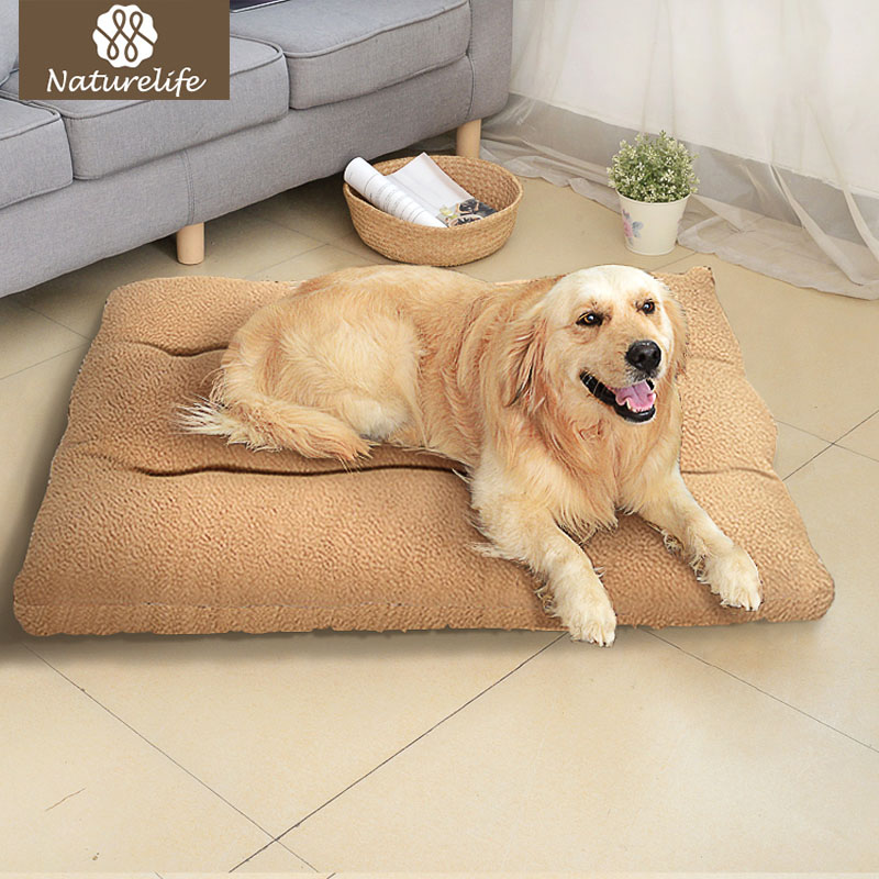 Naturelife Large Dog Mattress Mat soft Warm Pet Bed Cushion with Removable Designer Washable Cover Sofa Kennel For Pet