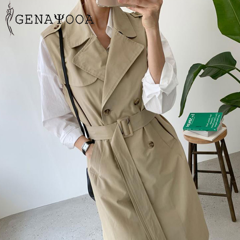 Genayooa Elegent Thin Womens   Trench   Coats Long High Quality Vest Women Pocket   Trench   Coat Office Ladies Sleeveless   Trench   Vest