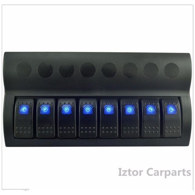 8 post 12V-24V marine rocker rocker switch panel |Blue LED car switch panel sales/maring ship 8 gang switch panel hot