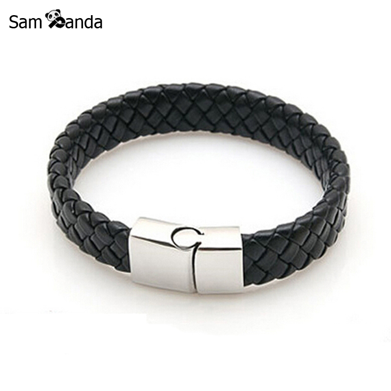 New Fashion Jewelry Black Braided Leather Bracelet s