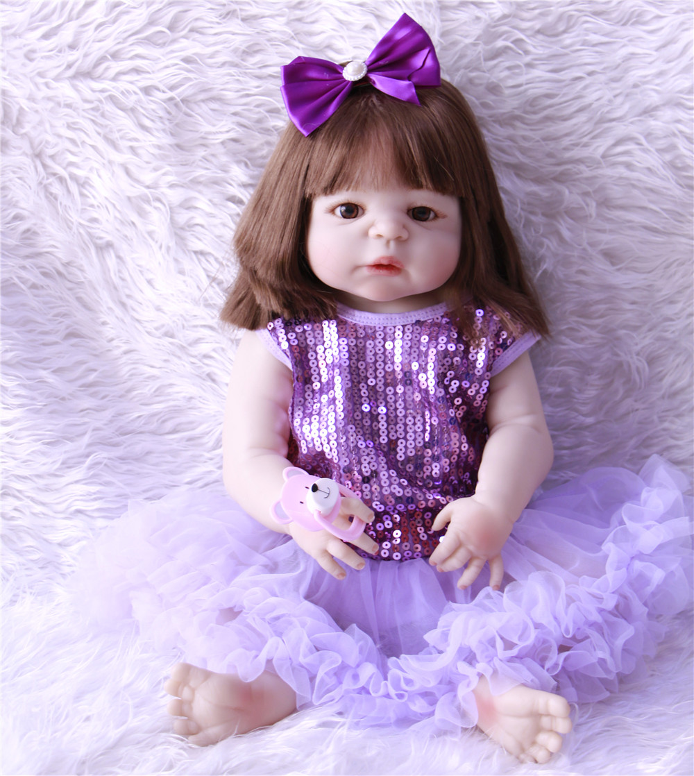 Latest new 55cm Silicone Reborn Boneca rooted brown hair Baby Dolls For Princess Children Birthday Gift Bebes Reborn Dolls npkLatest new 55cm Silicone Reborn Boneca rooted brown hair Baby Dolls For Princess Children Birthday Gift Bebes Reborn Dolls npk