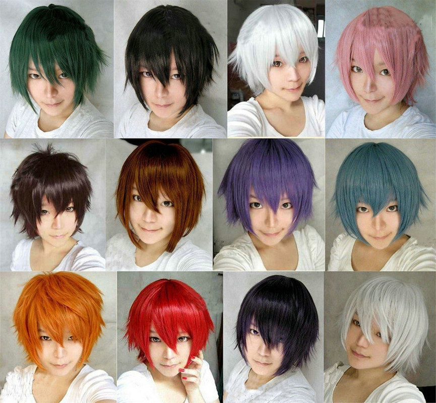 Anime Cosplay Wig Men Short Straight Purple Brown White Blue Costume Synthetic Hair Cos Wigs Peruca Pelucas pelucas para hombres cosplay