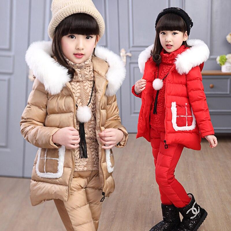 New winter children girl 3pcs set large fur collar hooded girls cotton padded parkas thicken warm