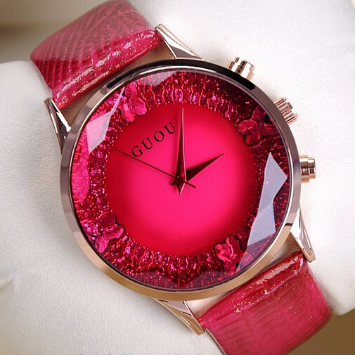 2015 women red and pink rhinestone watches dress women