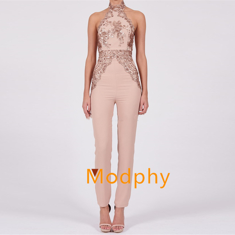 Modphy halter sequined sleeveless open back full Length luxury Evening Party Jumpsuit New Women Sexy Bandage dropshipping MD107