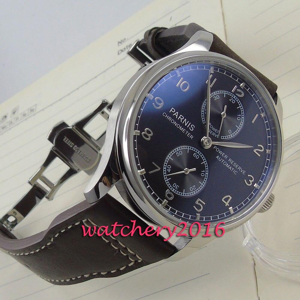Reloj de pulsera mecánico para hombre con correa de cuero negra de 43mm-in Relojes mecánicos from Relojes de pulsera    1