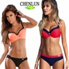 CHENLUN 2017 Sexy Women Swimsuit Push Up Color Cross Bandage Bikini Swimwear Halter Bikini Set Beach