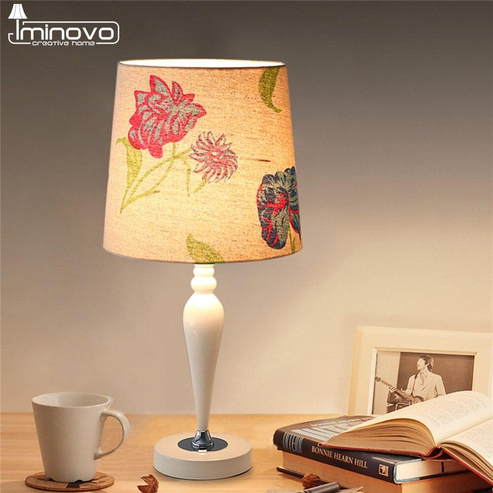 IMINOVO Modern Table Lamp Resin Linen Flower Printing Lampshade LED Lights Home Decor Dimmable Desk Lamps Bedside living Room