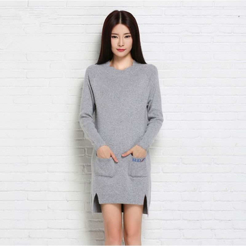 Plus Size Women Sweater Cashmere Knitted Winter Warm dress with pocket pullovers Ladies Long sweater 2016 Hot Sale Thick Clothes plus size double pockets knitted dress