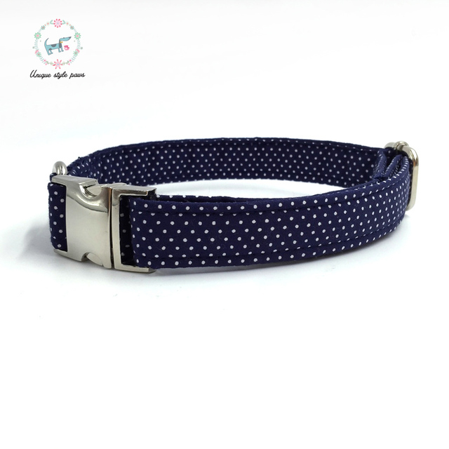 Blue Polka-Dot collar and leash set with bow tie. 4