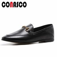 CONASCO 2019 Fashion Women Casual Flats Shoes Genuine Leather Flats Loafers Shoes Woman Slip On Boat Shoes Ladies Buckles Flats