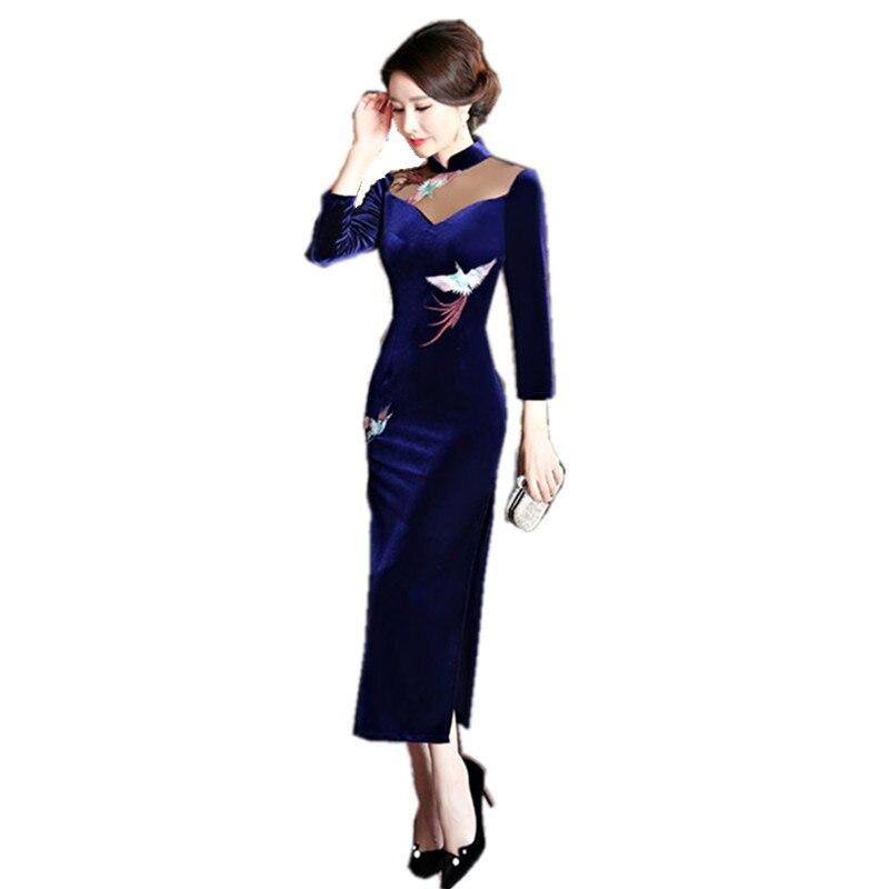 New Women Velour Qipao Mandarin Collar Handmade Button Long Cheongsam Novelty Chinese Formal Dress Size M L XL XXL XXXL 4XL T239 женское платье brand new 2015 vestidos 5xl s m l xl xxl xxxl 4xl 5xl