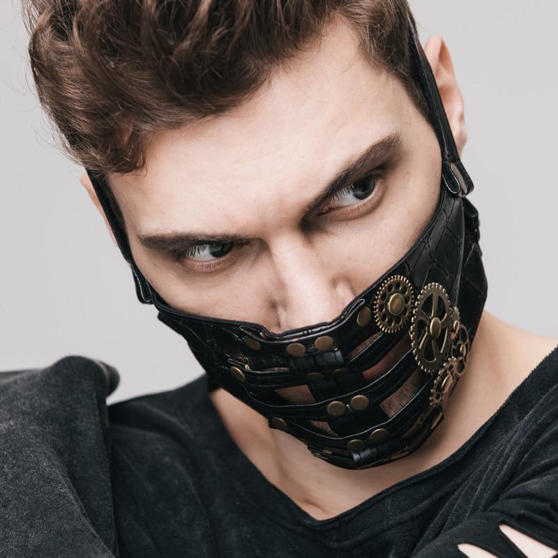 Nieuwe punk Hot explosie Stoom Punk Cosplay Huid Masker Klinknagel Punk STEAMPUNK Gear ROCK Lederen Masker Zwart Masker Gezicht - 2