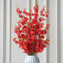 Xuanxiaotong 100cm Long 5pcs/set Oncidium Flowers Artificial Bouquet Red Yellow Pink White Orchid flores Home Table Decor