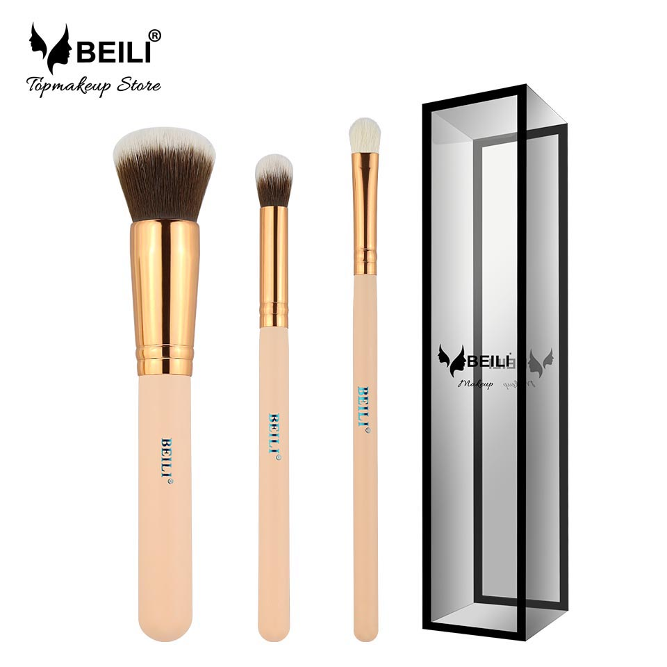 BEILI Pink 3ks Syntetické a kozí vlasy Foundation Concealer Smoky Eye Shadow Malé Makeup Brush Set