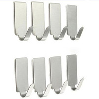 Ganchos para pendurar gancho de chave de parede 8 pçs auto adesivo casa cozinha porta de parede de aço inoxidável titular gancho #4m29|Ganchos e trilhos| |  -