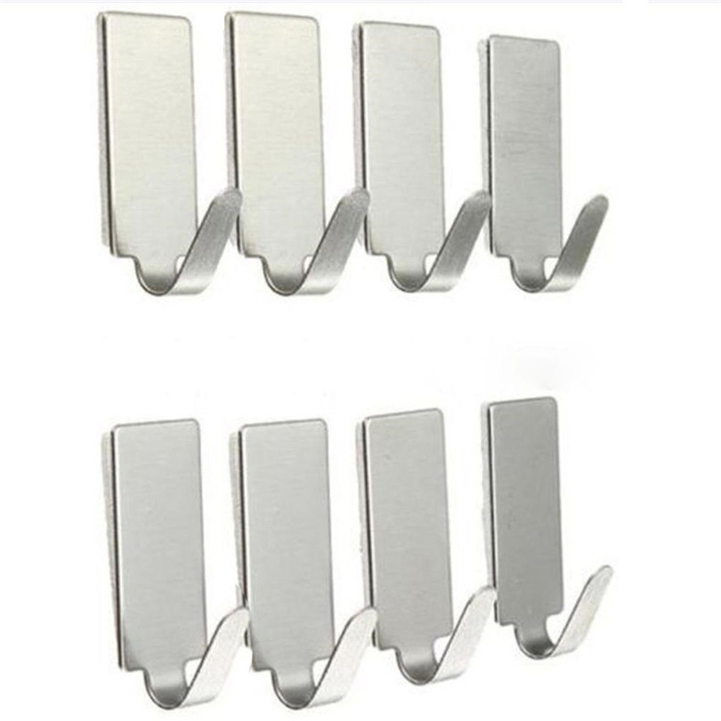 Hooks To Hang Wall Key Hanger 8PCS Self Adhesive Home Kitchen Wall Door Stainless Steel Holder Hook Hanger #4M29