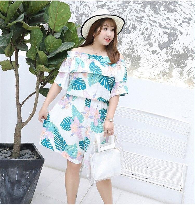 2018 Summer Plus Size Women Slash Neck Casual Romper Sexy Off Shoulder Short Jumpsuit Boho Floral Print Ruffle Beach Jumpsuit