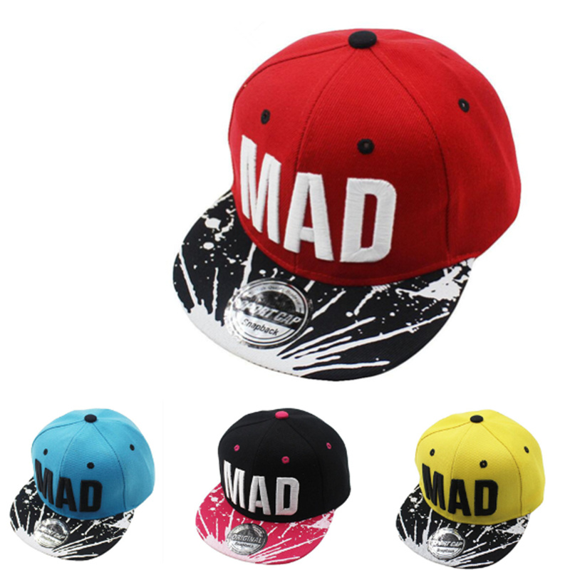 Free shipping 2017 Trend Hat Snapback Cap Children Embroidery MAD Letter Baseball Caps Kid Boys And Girls Flat Hip Hop Cap hatlander brand flat brim gorra baseball cap for kids hip hop hat boys girls outdoor sun hats children letter bone snapback caps