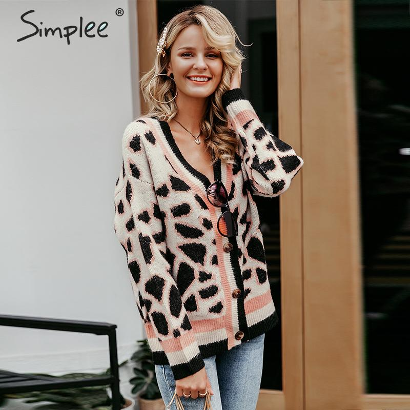 Simplee Vintage Leopard Print Women Knitted Cardigan Sweater V-neck Buttons Short Cardigan Jumper Casual Female Ladies Outwear