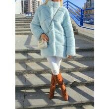 FURSARCAR ผู้หญิงฤดูหนาวสบายๆหนาขนสัตว์ Mink กับคอน้ำเงินฟ้าจริง Mink Coat หญิงหรูหรา Fur Plus ขนาดเสื้อ