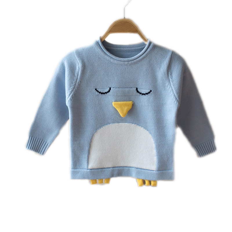 2018 Autumn Baby Girls Sweater Jumper Knitwear 3D Penguin Long-Sleeve Pullover for Girls Kids Toddler Sweater Children Clothing