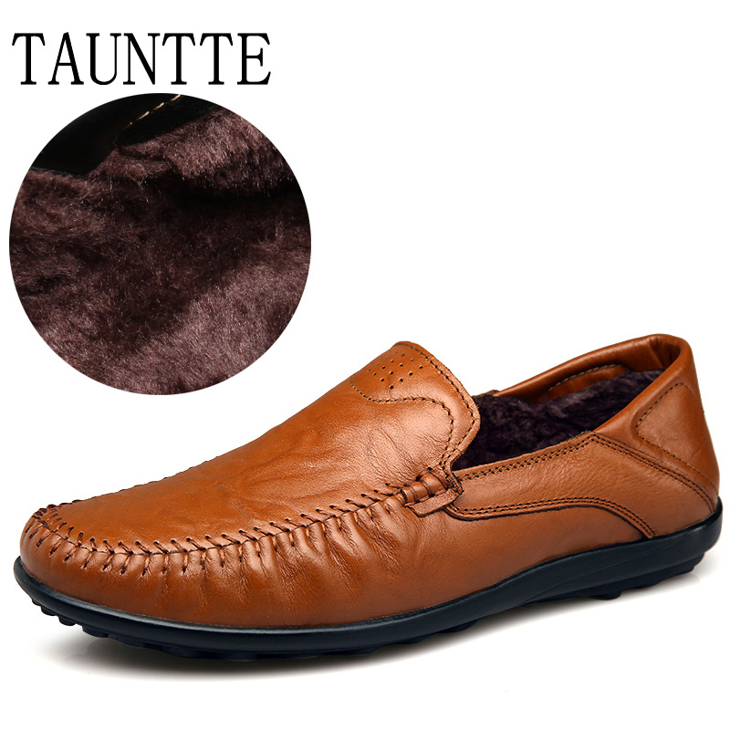Winter Men Loafers Soft Genuine Leather Casual Cow Leather Moccassins Men's Shoes Plus Size With Fur new arrival high genuine leather comfortable casual shoes men cow suede loafers shoes soft breathable autumn and winter warm fur