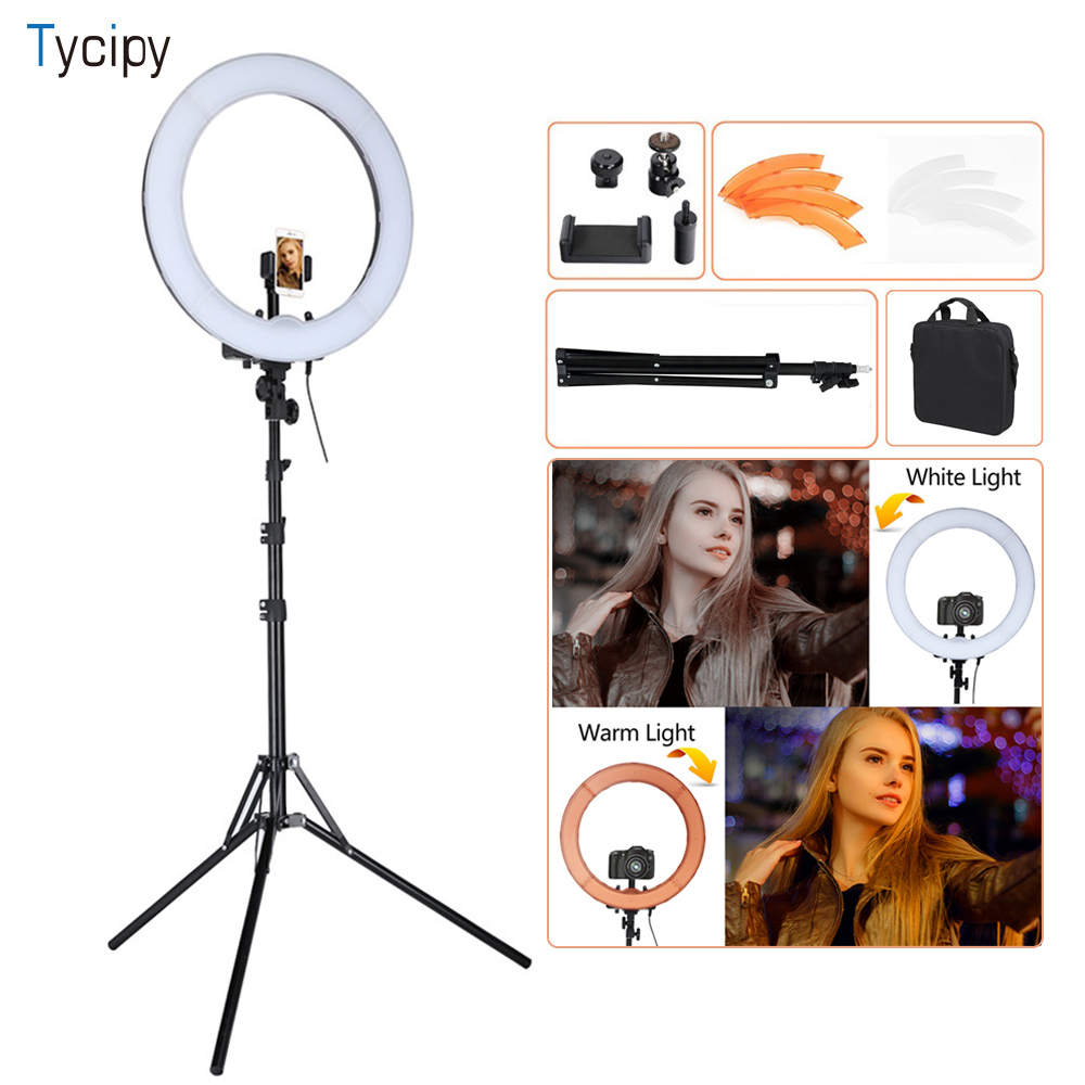 Tycipy 18 LED Ring 55W 5500K Dimmable Camera Light For Camera Photo Studio Phone Video Light