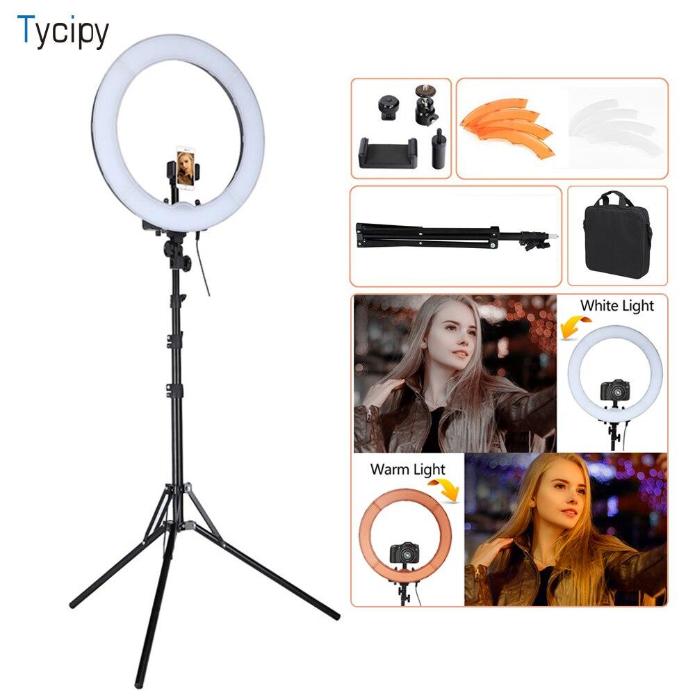 "Tycipy 18 ""LED リング 55 ワット 5500 k 調光対応用カメラ写真/スタジオ/電話/ ビデオライトランププラスチック三脚スタンド  グループ上の 家電製品 からの 写真用照明 の中 1"