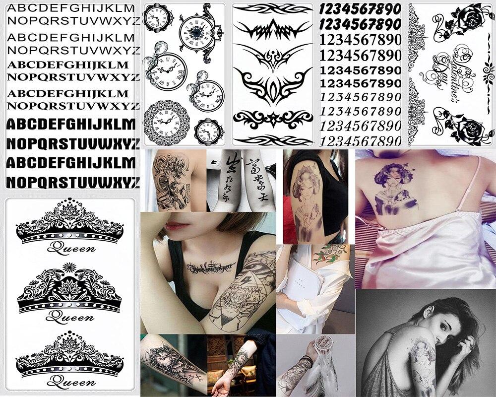 Y-XLWAN Alphabet Arabic Numbers Ms. Lasting Tattoo Men's Stickers Waterproof Tattoo Stickers Wall Stickers