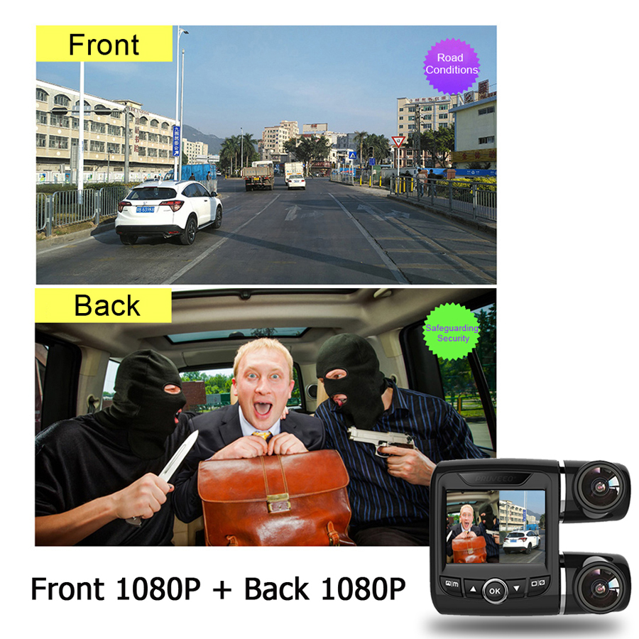 WHEXUNE mini Dashcam doble lente coche DVR Cámara Novatek 96663 grabadora de vídeo Full HD 1080P 2,0 pulgadas pantalla LCD super visión nocturna - 3