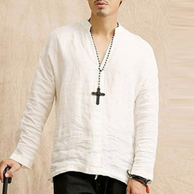 Brand Cotton Linen Men's Shirts Long Sleeve Male Casual Shirts Leisure shirt for man camisa masculina Streetwear 2018 Spring New 4